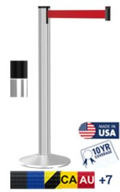 Grooved Post Retractable Belt Stanchion, 9′