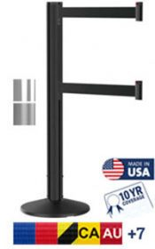 Dual Line Grooved Crowd Control Post, 9′