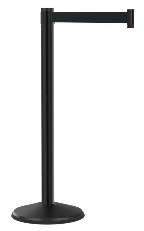 Economy Smooth Black Post with Retractable Black Belt 10'