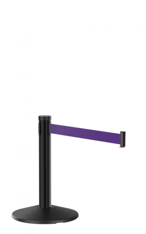 Mini Display Black Stanchion Post with Purple Retractable Belt