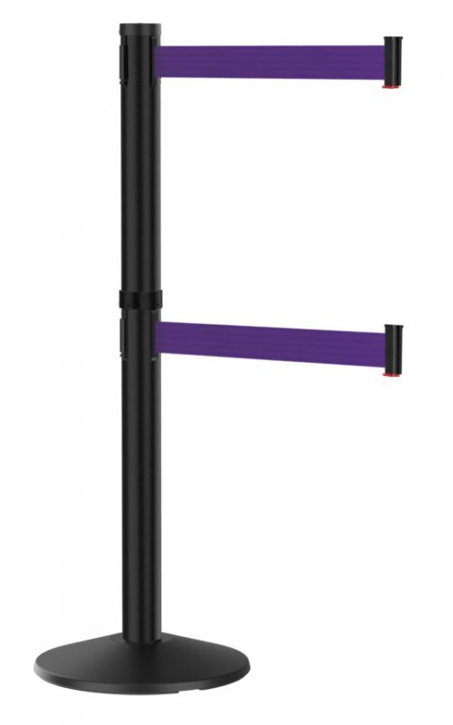 Premium Black Stanchion with Purple Dual Line Retractable Belt