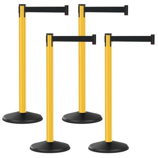 Premium Outdoor Plastic Yellow Post with Retractable Black Belt