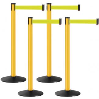 Premium Outdoor 4 Bundle Plastic Yellow Retractable Florescent Yellow Belt Post