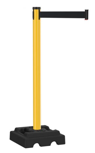 Safety Outdoor Yellow Stanchion with Black Retractable Belt