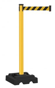Safety Outdoor Yellow Stanchion with Black Yellow Diagonal Retractable Belt