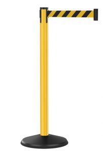 Value Outdoor Yellow Stanchion with Black Yellow Diagonal Retractable Belt