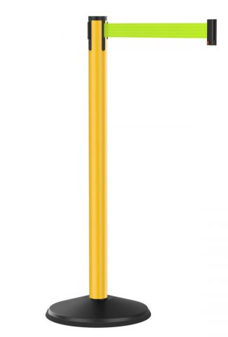 Value Outdoor Yellow Stanchion with Fluorescent Yellow Retractable Belt