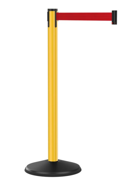 Value Outdoor Yellow Stanchion with Red Retractable Belt
