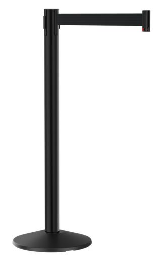 Value Black Aluminum Post with Retractable Black Belt 10'