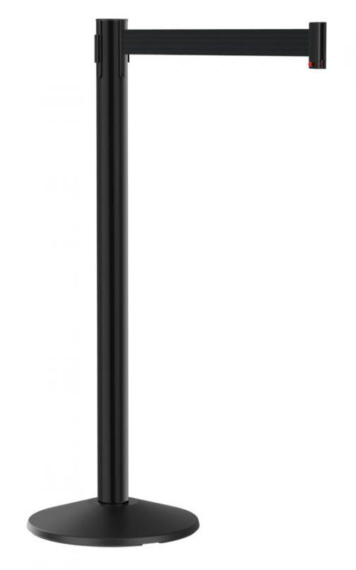 Value Black Aluminum Post with Retractable Black Belt 10'