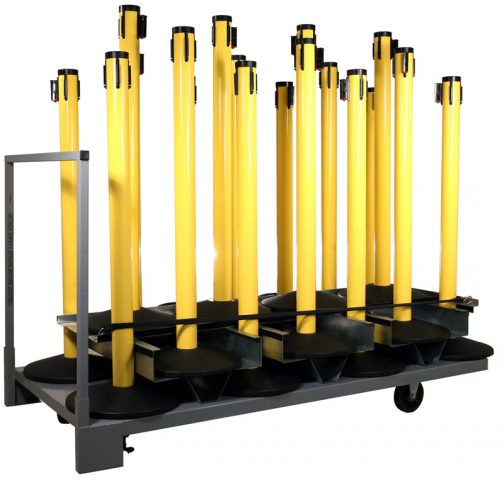 Vertical Stanchion Post Storage Cart Full