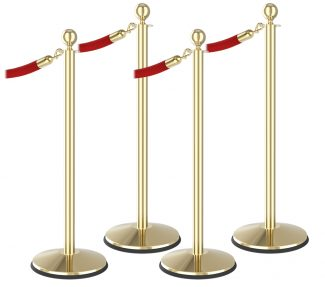Prime Classic Ball Top Brass Stanchion 4pc Red Rope