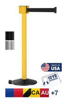 PM412 30 foot long outdoor retractable belt post