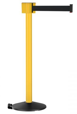 Retractable Yellow Post Mount 30' Black Retractable Belt