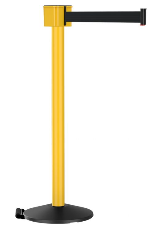 Retractable Yellow Post Mount 30' Black Retractable Belt