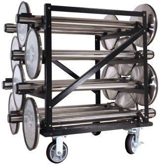 Horizontal 12 Stanchion Post Storage Cart Full