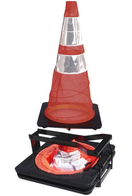 Premium Reflective Traffic Cone Orange 28in 2 Pack with Carry Tote