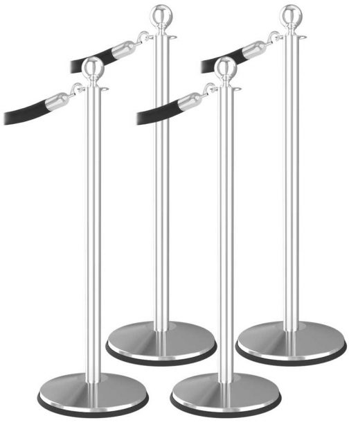Economy 4 Bundle Ball Top Polished Stainless Steel Black Velvet Rope Hook End Stanchion Post