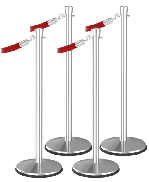 Economy 4 Bundle Urn Top Polished Stainless Steel Red Velvet Rope Hook End Stanchion Post