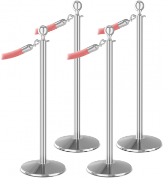 Premium 4 Ball Top Bundle Polished Aluminum Pink Velour Rope polished Chrome Snap End Stanchion