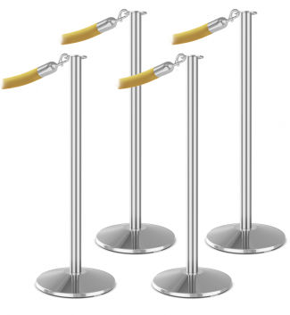 Premium 4 Flat Top Bundle Polished Aluminum Antique Gold Velour Rope Polished Chrome Snap End Stanchion