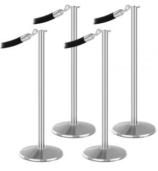 Premium 4 Flat Top Bundle Polished Aluminum Black Velour Rope Polished Chrome Snap End Stanchion