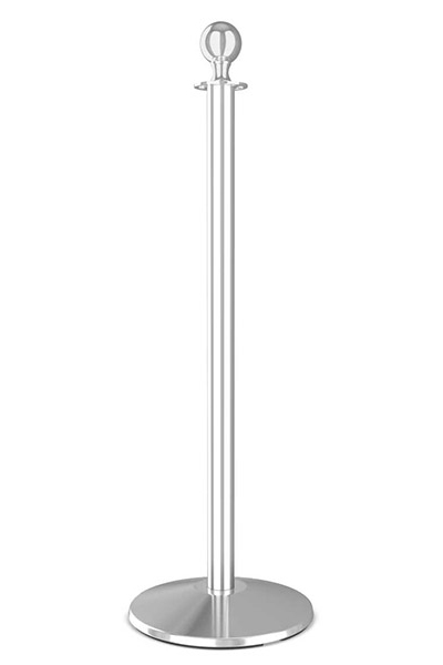Premium Ball Top Polished Stainless Steel Rope Stanchion Sloped Base Post