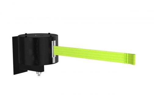 Premium Black Retractable Florescent Yellow Belt Fixed Wall Mount 65