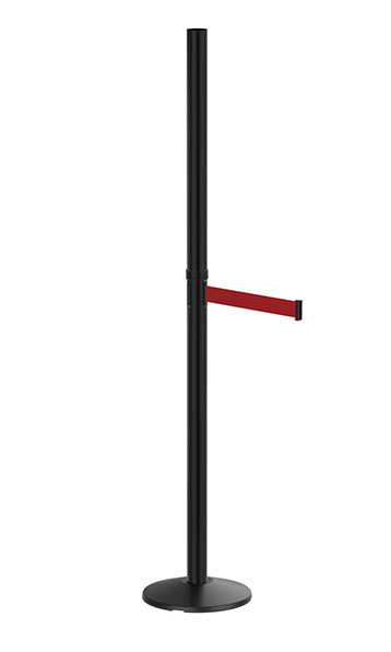 Outdoor Six Foot Black Sign Post with Retractable Red Belt