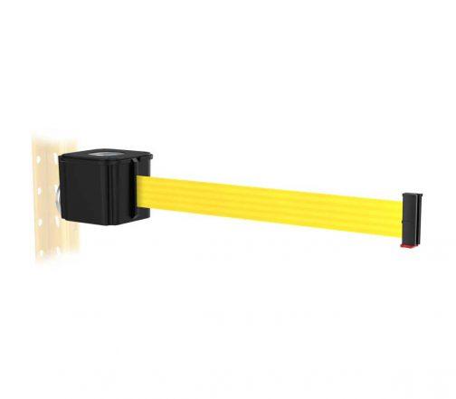 Premium Black Retractable Yellow Belt Magnetic Wall Mount