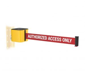 Premium Yellow Retractable Authorized Access Only Belt Magnetic Wall Mount