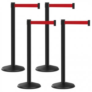 Economy Outdoor Black Post with Red Retractable Belt Bundle 4 Pack