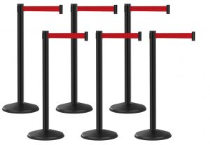 Economy Outdoor Black Post with Red Retractable Belt Bundle 6 Pack
