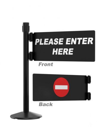 Security Swing Gate Left Swing Custom Message with Black Stanchion Post