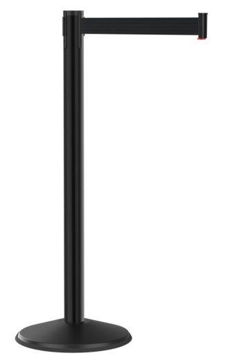 CCS Black Retractable Belt Post with 7.5' Black Belt
