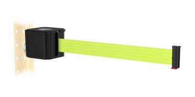 Premium Black Retractable Florescent Yellow Belt Magnetic Wall Mount